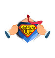 startup sign superhero open shirt with vector image vector image