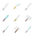 Sword knife dagger icons set cartoon style vector image vector image