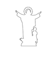 virgin mary statue path on white background vector image vector image