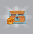 wooden closed old treasure chest with gold coins vector image