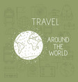 world planet with set travel icons vector image vector image
