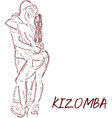 young couple dancing kizomba draw vector image