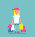 young trendy girl holding shopping bags flat vector image vector image