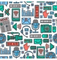 Media sketch icons seamless pattern vector image