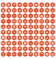 100 pointers icons hexagon orange vector image vector image