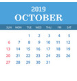 2019 calendar template - october vector image vector image