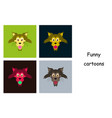 assembly of flat icons on theme funny animals cat vector image vector image