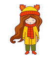 autumn fashion cute little girl with book vector image vector image