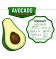 avocado with nutrition facts label vector image