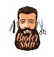 barbershop logo or label portrait happy man vector image vector image