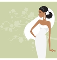Beautiful bride in a white dress vector image vector image
