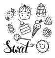 black and white set of cute kawai sweets and vector image vector image