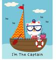 cat in boat vector image vector image