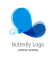 colorful blue butterfly logo template vector image vector image