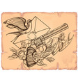 Contour image of revolver swallow letter ribbon