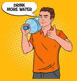 deliveryman holding water jug pop art vector image vector image