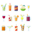 different drinks in bottles and glasses vector image vector image