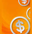 dollar signs on abstract orange background vector image
