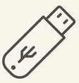 flash drive line icon usb vector image