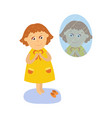 flat girl dressing in front of the mirror vector image vector image