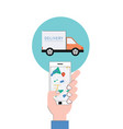 flat online delivery apps tracking shipping vector image