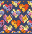 floral hearts seamless pattern over dark vector image vector image