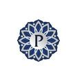 flower elegant icon initial p vector image vector image