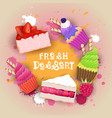fresh desserts set banner colorful cake sweet vector image vector image