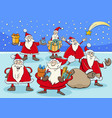funny santa claus cartoon characters group on vector image vector image
