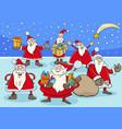 funny santa claus cartoon characters group on vector image