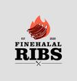 halal barbecue ribs logo graphic label vector image vector image