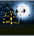 halloween the witch s house on the full moon vector image