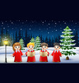 happy kids wearing red costume singing in the snow vector image vector image