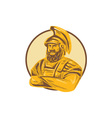 King Agamemnon Arms Crossed Circle Drawing vector image vector image