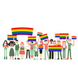 lgbt and gay parade protest people holding vector image