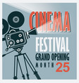 Movie festival poster with old movie camera