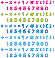numbers and signs in three colors vector image vector image