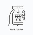 online shopping flat line icon outline vector image