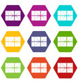 postal parcel icon set color hexahedron vector image vector image