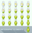 Progress indicator percentage set in people vector image vector image