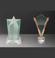 realistic glass trophy awards vector image