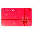 red gift card with ribbon and bow vector image