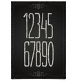 Retro numeric set on black chalkboard vector image