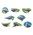 Roads and speed highways icons vector image vector image