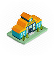 School building Isometric 3d pixel design icon vector image