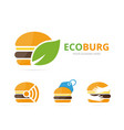 set of burger logo combination hamburger and eco vector image vector image
