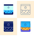 smart pet feeder icon set in flat and line style vector image vector image
