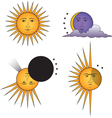 smiling sun angry sun moon vector image vector image