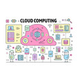thin line cloud computing poster banner vector image