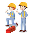 two mechanics with toolbox vector image vector image